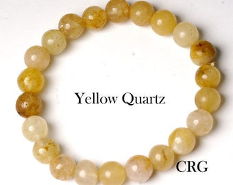 Round 6-7mm YELLOW QUARTZ Beads Stretch Bracelet (BR34DG)