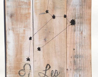 Leo Reclaimed Wood Sign - Constellation Pallet Wood Sign