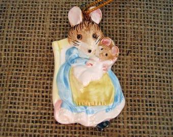 Vintage Porcelain Ornament Beatrix Potter Hunca Munca Mother and Baby Mouse - 1982 Schmid Japan Christmas Ornament