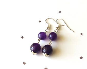 Amethyst earrings - sterling silver earrings - purple earrings - gemstone earrings - gift for her