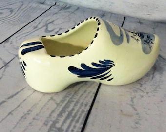 Delft Shoe, Delftware, Distal Clog Shoe, Delft Ashtray, Hand Painted Delft China, Mid Century Delftware, Collectable Delft