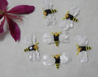 """10 pcs 6.3cm 2.48"""" black white yellow  sequins beads Rhinestones bee appliques patch brooch for shoes hats bags clothing M48Z45 free ship"""