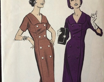 Beautiful Vintage Coat Dress Pattern---Advance 8866---Size 14 1/2 Bust 35  UNCUT