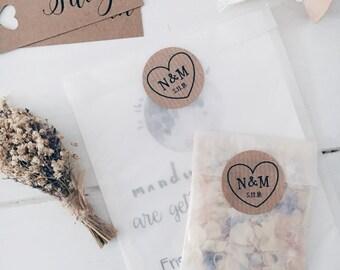 CUSTOM INITIALS Personalized Rustic Heart 1.5 inch Kraft Brown Stickers-invitations, weddings, sealing envelopes
