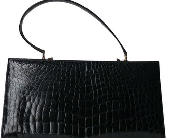 Vintage croco black handbag