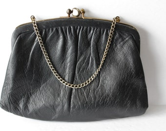 1960s Black Leather Purse by Ande, Two Sections Chain Strap Clutch