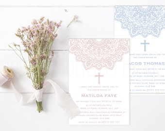 Personalised Christening / Baptism / Naming Day / Holy Communion Invitations with Envelopes