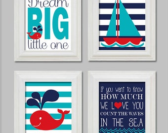 Nautical Nursery - 8x10 Digital Files - Count the waves in the sea -Dream Big Little One - Whale - Sailboat - Prints - Red Turquoise  Navy