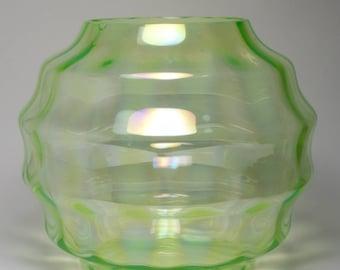 Large 1930s Art Deco Dutch Art Deco Uranium glass vase
