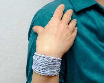 Crochet jewelry Everyday jewelry Textile bracelet Knitted bracelet Long bracelet Stacked bracelet Yarn bracelet girlfriend gift for women