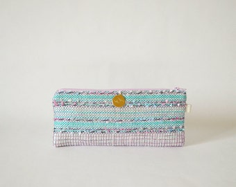 Unique woven Kit hand Thalia, blue, pink glitter handbag accessory