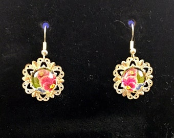 Lacey Pansy Drop Earrings (ACO1-B7)