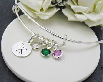 Birthstone Initial Charm Bracelet, Silver Birthstone Bracelet, Initial Bracelet, Charm Bracelet, Gift for Mother,