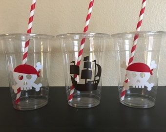 Pirate Party Cups, Pirate Birthday Cups