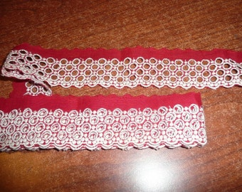 """2 Yards 2"""" Red/White Flat Eyelet Trim Small Scallop Edges"""