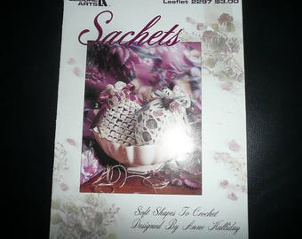 Vintage Leisure Arts Sachets To Crochet & Sachets Pattern Leaflets
