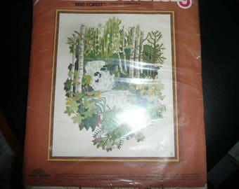 Vintage Sunset Stitchery Kit Rain Forest 1979