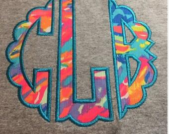 Monogram Shirt, Lilly Pulitzer Monogram Shirt, Lilly Pulitzer Long Sleeve Tshirt, Scalloped Monogram Shirt