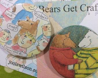 Bear Hugs Badge, Pocket Mirror or Fridge Magnet