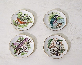 (X 4) vintage plates of aperitif with illustrations of different species of birds drawn by hand ceramic