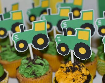 Tractor cupcake toppers. Tractor Birthday party decorations. Tractor party. One dozen tractor cupcake toppers. Farm themed party.