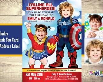 Superheroes Birthday Invitation. Wonder Baby Girl and Captain America Invitation. Superheroes Siblings Invitation. Joint superheroes party.