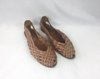 Vintage 80s Leather Woven Shoes / Flats / Footworks / Light Brown / Tan /  Size