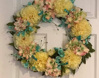 Spring or  Summer Wreath with Yellow, Blue, and Pink flowers: Hydrangea, small roses
