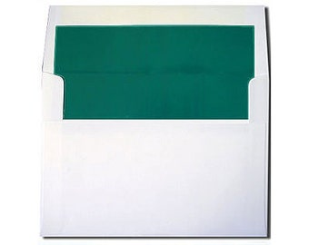20 White with Teal Blue Green Lined Envelopes - A7 Size