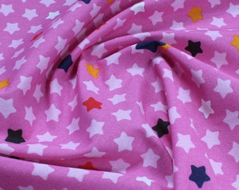 Fabric for children cotton polyester star hot pink colourful