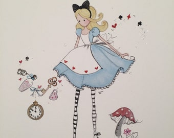 Lolli and Shell Alice in Wonderland giclee art print 5x7
