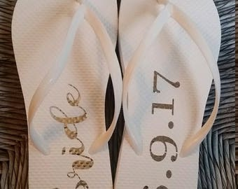 Customized Bridal flip flop labels; honeymoon; wedding; bridesmaids; flower girls; bridal party flip flop labels; glitter; metallic