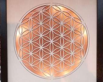 """Stunning Large 9.5"""" 3D Sacred Geometry FLOWER of LIFE LED Beech Wood Carving, Wall Hanging Picture, Beechwood"""