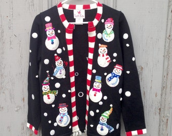 Beautiful Snowman Winter Sweater/ Vintage Ugly Christmas Sweater Size Women's Small
