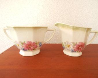 Royal Sebring Ohio Adelphia Creamer & Sugar Bowl Set