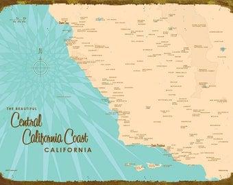 Central California Coast Map - Canvas Print