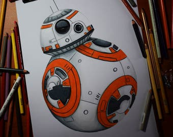BB-8 STAR WARS original drawing