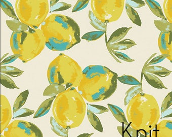 Yuma Lemons Mist in Knit from Art Gallery's Sage -Lemon Knit fabric - Jersey KNIT cotton stretch fabric - Choose length