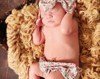 Vintage floral bloomer+bow set//baby diaper cover//baby bloomers