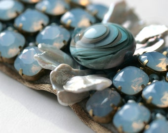 """Blue lampwork bracelet with crystals  """"Chicago Blues"""""""