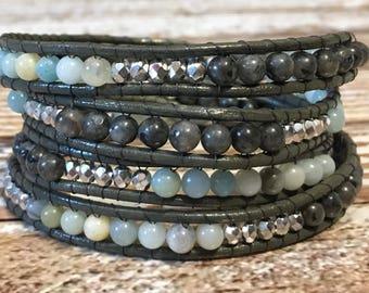 Chan Luu Style Wrap Bracelet / Chan Luu Jewelry / Healing Crystal Bracelet / Chan Luu Bracelet / Chakra Bracelet