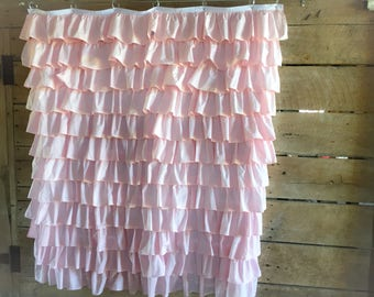Light Pink Ruffled Shower Curtain  Farmhouse Style
