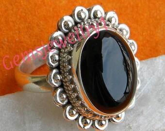 Black Ring, Black onyx ring, 925 sterling silver,Black stone Ring, Black onyx Stone, Size 5 6 7 8 9 10 11 12 13 14,  -0115100244