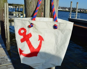 Large Recycled Sail Bag with Red Anchor Applique