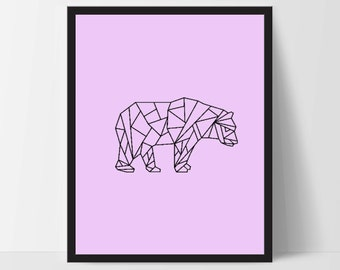 Pink Purple Geometric Bear, Wall Art, Bear Wall Print, Boho Art, Wall Prints, Bear Prints, Art, Walking Bear