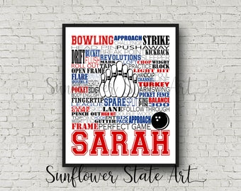Personalized Bowling Poster, Bowler Art Typography, Bowling Print, Bowler Gift, Bowling Art, Bowling Team Gift, Gift for Bowler