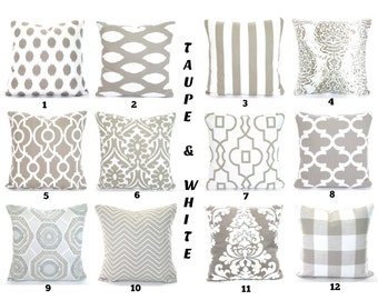 Taupe Decorative Pillow Covers, Cushion Covers, Decorative Throw Pillows, Ecru Taupe Ivory Shabby Chic, One or More Mix & Match All Sizes