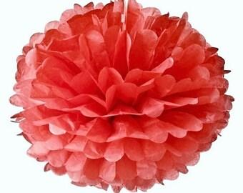 1 flower paper pompon, red paper, 20 cm for celabration
