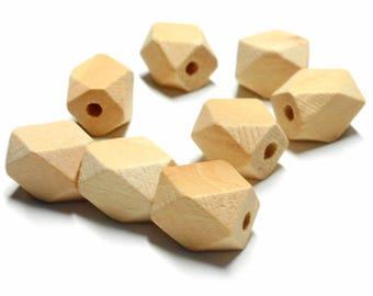 Set of 10 Wooden Beads rectangular polygon shape 13 * 10 mm