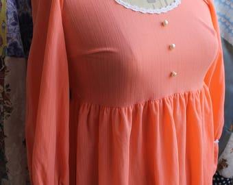 1970's scoop neckline empire line evening dress REF580